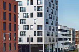 Das SKAIO am Eingang zur BUGA in Heilbronn. Von den 60 Wohnungen, überwiegend 1–2 Zimmer Einheiten mit rund 40–90m² Wohnfläche, sind 25 öffentlich gefördert