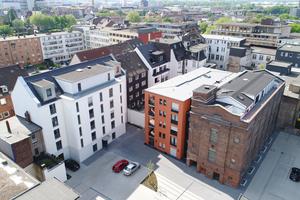 Das neue Ensemble an der Kasinostraße/<br />Steinsche Gasse wertet einen<br />vorher vernachlässigten Stadtraum in<br />der Duisburger Altstadt auf<br />