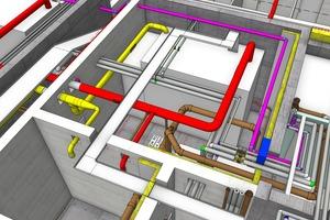 Das BIM-Modell zeigt die TGA-Planung mit Vectorworks