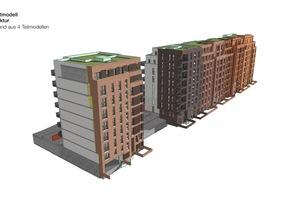 Das Gesamtmodell Architektur besteht bei SonninPark aus vier einzelnen BIM-Modellen