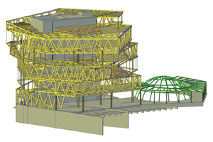 Kaum noch sichtbar: das komplexe Tragwerk der experimenta in Heilbronn. Die Tragwerksentwicklung erfolgte in einem 3D-Modell, das sich parametrisch modellieren, berechnen, materialisieren, optimieren und schließlich in eine BIM-Planung integrieren ließ