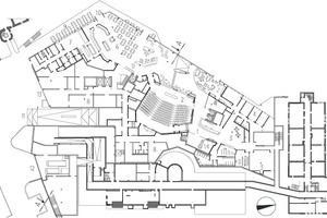 Grundriss Erdgeschoss, M 1:12501Haupteingang und Empfang<br />2Auditorium<br />3Seminar<br />4Verwaltung<br />5Café Leennards<br />6Restaurant<br />7Küchenbereich<br />8Logistikbereich<br />9Außenterrasse<br />10Eingang Restaurant<br />11Zugang Tiefgarage<br />12Zufahrt Pathologie<br />13Anlieferung<br />14Eingangstreppe Atrium