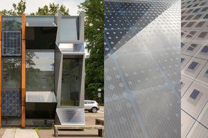 02 Fassadenmodell zur Demonstration<br />der Möglichkeit der<br />Modulgestaltung in verschiedenen Fassadentypologien. Das rechte Bild zeigt zwei verschiedene Glasmusterdesigns von UNStudio (Quelle: ConstructPV)