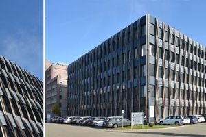 03 Die bestehende Fassade des Züblin Z3 in Stuttgart wurde mit dem speziellen Design des BiPV-Moduls renoviert, um der Architektur des Gebäudes und den deutschen Vorschriften zu entsprechen (Quelle: www.ConstructPV.eu)