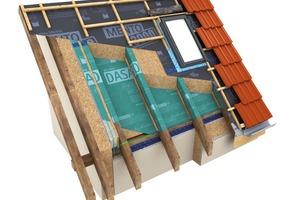 05 Die gängigste Variante zur Herstellung der Luftdichtheit bei Dachsanierungen von außen mit Zwischensparrendämmung ist die sog. Sub-and-Top-Verlegung einer Luftdichtungsbahn von außen. Eine zusätzliche Aufsparrendämmung ist hier ggf. nicht zwingend erforderlich