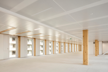 Das Green Office Enjoy in Paris ist eine Mischbauweise aus Holz- und Stahlträgern und -stützen, um eine Plane Deckenhöhe zu garantieren<br />