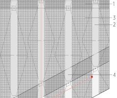 """Dachaufsicht, M 1:250<div class=""""legenden"""">1Gitterrostauflage auf den Dachelementen im begehbaren Bereich</div><div class=""""legenden"""">2Edelstahlriffelblech</div><div class=""""legenden"""">3Lochblechauflage auf den Dachelementen im nicht begehbaren Bereich</div><div class=""""legenden"""">4Gitterrostauflage</div><div class=""""legenden"""">5Gitterrost gemäß Statik</div><div class=""""legenden"""">6Sekurantensystem</div>"""