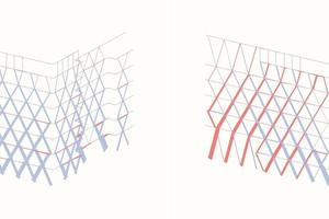 Statisches Modell mit vertikaler Lastabtragung (l.) / mit resultierenden Normalkräften (r.)