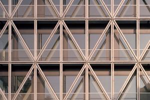 Die Außenstruktur der umlaufenden Balkonlandschaft hängt filigran von jedem Geschoss ab, wodurch die starren Dreieckselemente horizontal auf die Temperaturschwankungen reagieren und sich bewegen können