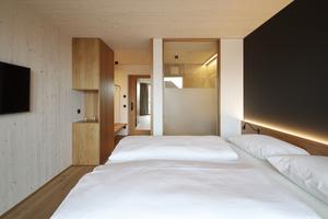Jedes Hotelzimmer besteht im Prinzip aus einem Modul, das im Werk vorgefertigt und vor Ort nur noch eingebaut werden musste. Statisch-konstruktiv gesehen tragen die Module ihr Gewicht immer direkt nach unten ins nächste Modul ab, die geschossbildenden Flure sind lediglich dazwischen eingebaut