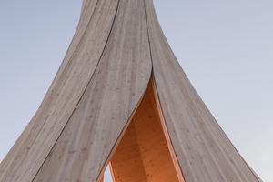 Die markante Form des Urbachturms entstand in einem neuartigen Prozess der Selbstformung der komplex gekrümmten Bauteile