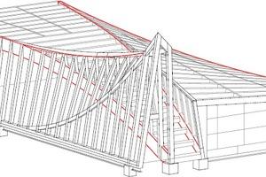 Isometrie, o. M. Rot markiert sind die 4 Free-Form Träger<br />