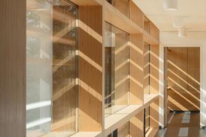 Die BauBuchen-Deckenelemente wurden in Sichtqualität hergestellt, so konnte auf die übliche Bekleidung der Unterzüge mit Gipsplatten verzichtet werden. Gleichzeitig wurde der Aufbau der Rohdecken verschmälert, was größere Raumhöhen bei gleichbleibender Gebäudehöhe ermöglichte