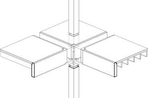 Die BSH-Stützen schließen am Ende mit einem Stahlkopf- bzw. einer Fussplatte ab, um die Kraft aus der oberen Stütze mit einem dünnen Stahlprofil in die untere Stütze zu übertragen