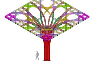 Mit Hilfe eines parametrischen Digitalmodells entstand ein Baukastensystem mit 2476 einzelnen Bauteilen in 145 Varianten. Die Visualisierung zeigt die verschiedenen Bauteile einer einzelnen Baumstütze