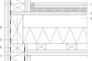 """06 Die Holzbaurichtlinie gilt bisher lediglich für Konstruktionen wie Holztafel-, Holzrahmen- oder Fachwerkbau <div class=""""legenden"""">1Eternit Wellpappe, grau, Bügel RR Æ 101</div><div class=""""legenden"""">2Insektenschutz</div><div class=""""legenden"""">3Dachaufbau:<br />Extensive Begrünung, Vlies, Kunststoffabdichtung UV-beständig, Vlies, Dämmung, Aluminium Dampfsperre/ Notabdichtung, Brettsperrholz, Akustik-Filz, GKF</div><div class=""""legenden"""">4Wandaufbau:<br />GKF doppellagig, Brettsperrholz, Nutzholz, Winddichtpapier diffusionsoffen, Nutzholz hinterlüftet, Lärchenschalung unbehandelt, gehobelt</div><div class=""""legenden"""">5Deckenaufbau:<br />Parkett, Zement- und Zementfließestrich, Dampfsperre, Trittschall-Dämmplatte, EPS-W 25 plus, BEPS-WD 70N, Abdichtung, STB Bodenplatte, Dämmung</div><div class=""""legenden"""">6umlaufendes Rahmenholz</div><div class=""""legenden"""">7Verspachtelung</div>"""