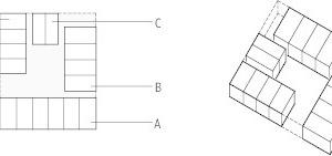Anordnung der Zimmermodule/Raumzellen, o.M.