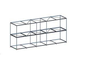 Statisches Analysemodell einer Konstruktion mit Stahlrahmenmodulen