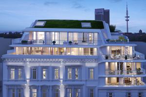 03 Die additive Aufstockung mit einer modernen, leichten Glas–Aluminium–Fassade hebt sich kontrastreich von der historischen Fassade ab