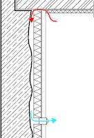 05 Hohlräume zwischen Innendämmung und Bestandswand gilt es zu vermeiden. Hier kann durch abfallende Kaltluft (links) hinter der Innendämmung Luftzirkulation mit kontinuierlicher Auffeuchtung entstehen oder konvektiver Feuchteeintrag in sensible Bereiche – z.B. Holzbalkenköpfe (rechts)