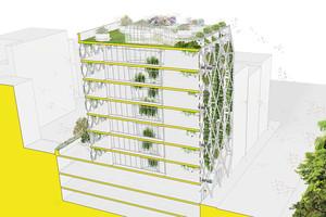 Auf einem Grundstück in Lower Manhattan ist ein Bürogebäude mit einer lebenden, mehrschichtigen Gebäudehülle geplant und wird damit quasi zum Terrarium