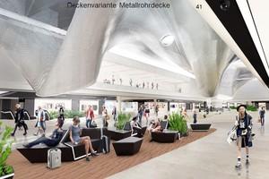 Visualisierung der Decke im Fraport, Terminal 3: Sie wurde parametrisch geplant und wird digital gefertigt