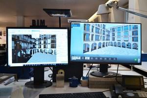 Links auf dem Monitor die BIM-Planung in Archicad, rechts über eine Live-Schnittstelle im Ansichtsfenster des Visualisierungsprogramms. Spiegelungen und Tageslichtsimulationen, Schattenwurf oder Oberflächen lassen sich so darstellen