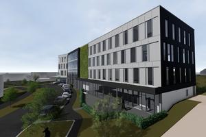 Das OWP 12 wird als Firmensitz von Drees & Sommer in Stuttgart-Vaihingen errichtet. Das Plusenergiehaus nach einem Entwurf von SCD Architekten Ingenieure soll allen Anforderungen für Umweltfreundlichkeit und Digitalisierung gerecht werden