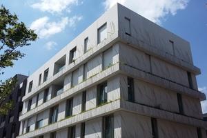 """Die Oberfläche des Sichtbetons entsteht durch eine Zementleimschicht, die nach einem vorher festgelegten grafischen Muster flächig unterbunden wird. Der Kontrast aus freigelegtem Gestein und der ungestörten Zementleimschicht ergibt die gewünschten Formen und Bilder. Die mehr als 400 Fassadenplatten des Gebäudes """"I 2"""" erhielten mit diesem Verfahren ein Muster, das an den Schattenwurf von Zweigen erinnert"""