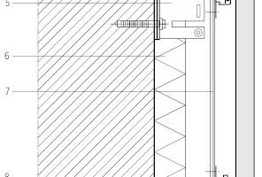 05 Vertikalschnitt Unterkonstruktion Legende Grafik 05<br />&nbsp;<br />&nbsp;<br />1Fassadenplatte aus hochfestem Carbonbeton<br />2Verankerungsdübel<br />3Thermische Trennung unter Wandhalter<br />4Agraffe mit Höhenjustierschraube<br />5Wandhalter (Festpunkt)<br />6Wärmedämmung<br />7Basisprofil<br />8Agraffe<br />9Hinterschnittanker<br />10Horizontales Tragprofil<br />11Gleitbinder<br />12Wandhalter (Gleitpunkt)<br />13Untergrund<br />