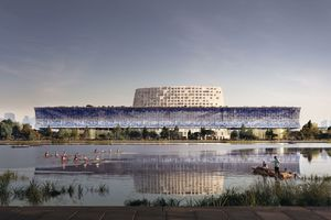Visual des Museumskomplexes mit Konferenz- und Hotelberg im Zentrum über den Kanal hinweg