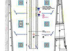 """Grundriss """"Antike Kulturen"""", M 1:125<div class=""""legenden"""">1Vitrinenbeleuchtung, Schienensystem, Modul mit 2 Lichtköpfen 300 mm,</div><div class=""""legenden"""">Ausstrahlwinkel 20°, max. 5 W, DALI-dimmbar</div><div class=""""legenden"""">2Lineare Aufbauleuchte, Einbau in Deckennische, Länge 2427 mm,</div><div class=""""legenden"""">tunable white, max. 35 W, DALI-steuerbar</div><div class=""""legenden"""">3Magnetische Stromschiene mit Einbauprofil, Fugenbreite 45 mm, max. 140 W/m, </div><div class=""""legenden"""">4Strahler-Inset für magnetisches Stromschienensystem, Schlitzbreite 25/ 45,</div><div class=""""legenden"""">max 13 W, DALI-dimmbar</div><div class=""""legenden"""">5Lineares Inset für magnetisches Stromschienensystem, Schlitzbreite 25/ 45,</div><div class=""""legenden"""">max 7,5 W, DALI-dimmbar</div><div class=""""legenden"""">6Revisionsklappe 300/300, eliptischer Ausschnitt für Lichtaustritt Projektor</div><div class=""""legenden"""">7Abluft</div><div class=""""legenden"""">8Zuluft</div>"""