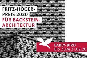 """""""Early Bird""""-Phase Fritz-Höger-Preises 2020 für Backstein-Architektur endet am 21. Februar 2020"""