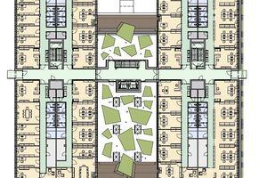 03 Grundriss des ersten und zweiten Obergeschosses von Bauteil 2 des Technologiezentrums Seestadt (Aspern IQ)