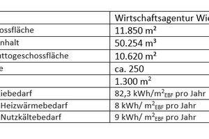 04 Kenndaten des Technologiezentrums Aspern IQ, die im Rahmen der klima:aktiv-Bewertung erhoben wurden (EBF steht für Energiebezugsfläche)