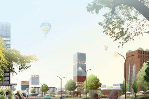 Ansicht Campus mit Hotel-/Wohn-/Büro-/Einkaufsturm