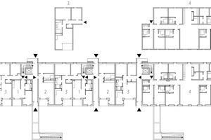 Haus 1, Erdgeschoss, M 1:750, mit Wohntypen 1–5