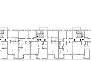 Haus 1, Regelgeschoss, M 1:750, mit Wohntypen 1–5