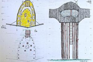 Erster Entwurf des Teehauses als begehbare Skulptur<br />