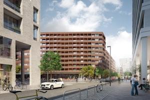 Das Herzstück des Quartiers markiert das QH Core als Nahversorgungszentrum mit Gastronomieangeboten, einem Supermarkt, großflächigen Bürobereichen und unterschiedlichen Wohnungstypen (ROBERTNEUN Architekten)