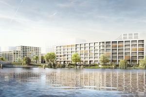 """Im Norden des Quartiers gestalten gmp Architekten, Gerkan, Marg und Partner, unter dem Namen """"QH Crown"""" zwei Gebäude als nördliche und südliche Einfassung des Nordhafenplatzes"""