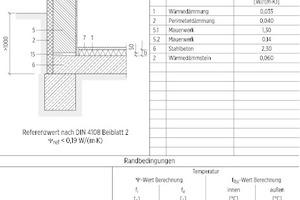 Unter Berücksichtigung der Rechenrandbedingungen des Beiblatt 2 kann für abweichende Anschlussdetails ein rechnerischer Nachweis erbracht werden – wie z.B. für das Mauerfußelement Perinsul HL (Wärmedämmstein) mit einer Höhe von 50mm
