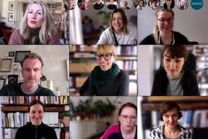 Teammeeting mit Einblick ins traute Heim der KollegInnen