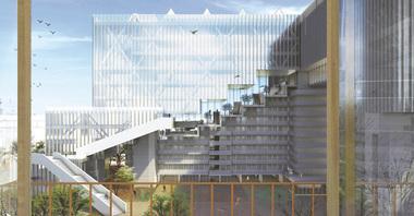 """Mengyue Feng und Guisong Zhang (2. Preis), TU Braunschweig, Projekt """"Stadtkrone"""", Perspektive, Blick auf den Hafenplatz"""