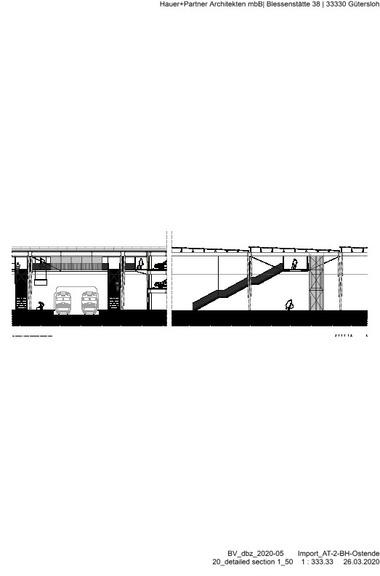 Detailschnitt Bahnsteig, M 1 : 333 1/3