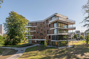 Die Höhenentwicklung der Gebäude orientiert sich am Bestand, aber mit den beiden Gebäudetypen auch an unterschiedlichen Anforderungen an ihre räumliche Lage im Spinnereipark