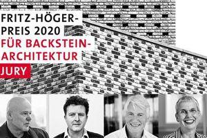 Keyvisual des Fritz-Höger-Preises 2020 für Backstein-Architektur mit den Juroren: Kaye Geipel, Florian Zierer, Christoph Ingenhoven, Susanne Wartzeck