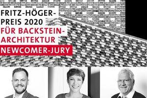 Keyvisual des Newcomer-Awards des Fritz-Höger-Preises 2020 für Backstein-Architektur mit der Newcomer-Jury: Nick Chadde, Isa Fahrenholz, Benedikt Hotze