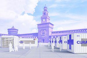 """Die Visualisierung zeigt eine Krankenstation mit """"CURA""""-Unterdruck-Containern in Mailands Castello Sforzesco"""