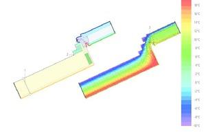 """03 Für jeden Detailpunkt der zertifizierten Passivhaus-Komponente wurden thermische Wärmestrom-simulationen durchgeführt↓<div class=""""legenden""""></div><div class=""""legenden"""">1 U = 0,125 W/(m²K)</div><div class=""""legenden"""">2 Φ<sub>A-C </sub>= -11,15252 W/m</div><div class=""""legenden"""">3 Θ<sub>si min</sub> = 11,19 °C; f<sub>Rsi</sub> = 0,706</div><div class=""""legenden""""></div><div class=""""legenden"""">    Ψ<sub>A-E-C,*</sub> = 0,022 W/(m²K)</div>"""